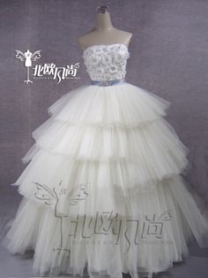 Tulle Ball Gown Sweetheart Tiered floor-- length Wedding Dress