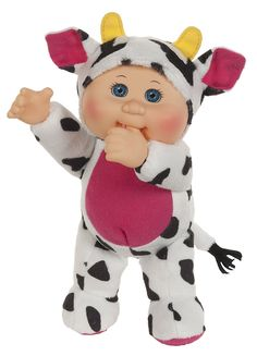 Cabbage Patch Kids Cuties Collection - Clara Cow Cutie Baby Doll 9'' soft cuddly body with plastic head showcasing the traditional Cabbage Patch Kid look
