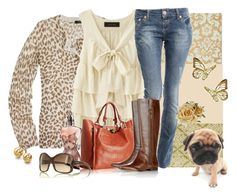 August, first - 2009 by verabrasil on Polyvore featuring polyvore, fashion, style, J.Crew, F, Crafted, KORS Michael Kors, Chloé, Ross-Simons, Prada, Jean-Paul Gaultier, BasicGrey, clothing, animal print, jeans, earringns, jean paul gaultier, top, cardigan, boots, sunglasses, bag, prada and j crew