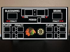 BLACKHAWK Scoreboard hockey scoreboard hockey decor by RadGraffix, $160.00