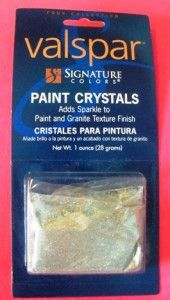 These paint crystals are an inexpensive way to add a little sparkle to the walls. It is super easy to mix into the paint and you can add as much or as little as you like. We used this product when painting our guest bathroom and it turned out great! A little night light gives it a Starry Night quality in the dark. Love it!