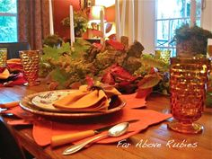 Far Above Rubies: Autumn Tablescapes  Need the amber cubist glassware?  Visit me at WhimsicalVintage  https://www.rubylane.com/item/777783-RLG315/Vintage-Amber-Cubist-Glassware-Indiana-Glass?search=1