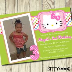 Hello Kitty Digital Printable Birthday Party Invitation 3rd Birthday, Birthday Parties, Hello Kitty Invitations, Hello Kitty Birthday, Birthday Party Invitations, Party Planning, Birthdays, My Etsy Shop, Printable