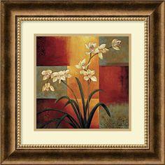 "0-009017>17x17"" Jill Deveraux White Orchid Framed Print"