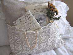 vintage lace pocket pillow