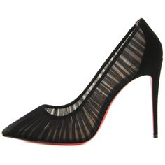 CHRISTIAN LOUBOUTIN Chiffon Pigalle Follies Draperia 100 Pumps 41... ❤ liked on Polyvore featuring shoes, pumps, pointed toe high heel pumps, high heel stilettos, black pointed toe stilettos, black pumps and pointed-toe pumps