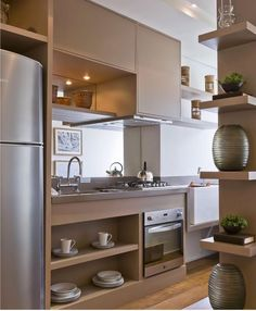 70 Modern and Contemporary Kitchen Cabinets Design Ideas Kitchen Cabinet Design, Interior Design Kitchen, Home Design, Kitchen Dinning, Kitchen Decor, Decorating Kitchen, Kitchen Ideas, Kitchen Layout, Contemporary Kitchen Cabinets
