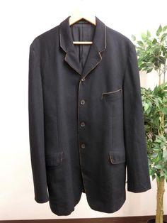 yohji yamamoto POUR HOMME 銅線 パイピング ウール コート 黒 3_画像1