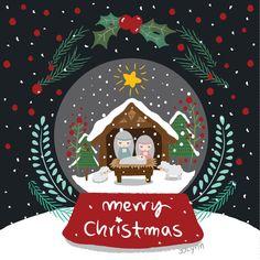 bola de nieve tarjeta de Navidad de ilustración por JJLynnDesign