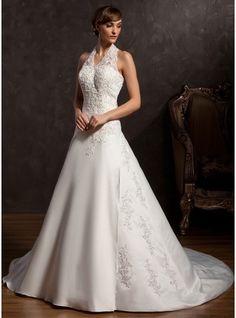 Forme Princesse Dos nu Traîne mi-longue Satiné Robe de mariée avec Dentelle Emperler Sequins
