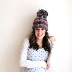 Chunky Knit Hat Wool Pom Pom- Creek- Hanover Hat