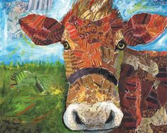 At the Farm Cow art by Lori Siebert by LoriSiebertStudio on Etsy