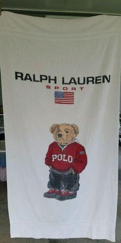 Ralph Lauren Sport Polo Sweater  Teddy Bear Beach Bath XL Towel