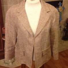 Beautiful Talbots Blazer Gorgeous coppery, white and cream colored jacket by Talbots.  Has front pockets and no buttons.  Excellent condition. Talbots Jackets & Coats Blazers