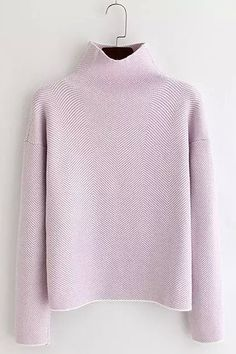 Casual Long Sleeves Stand Collar Sweater For Women