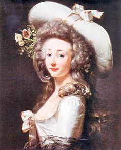Portrait of Marie Françoise de Flandre de Brunville, Comtesse de Cluzel by Henri Pierre Danloux. It probably dates from around 1788/9.