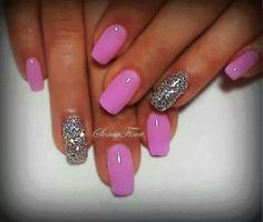 Simple solid pink with glitter nail