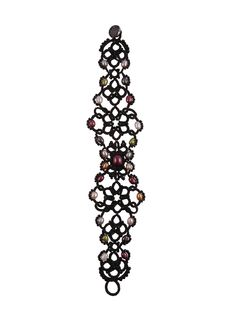 Lorina black lace bracelet with multicolored pearls tatting
