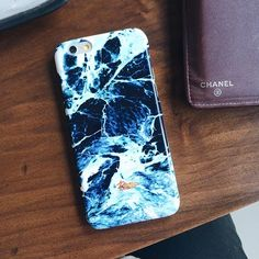 """#Surf"" Bright #Ocean #Blue marble printed phone case"