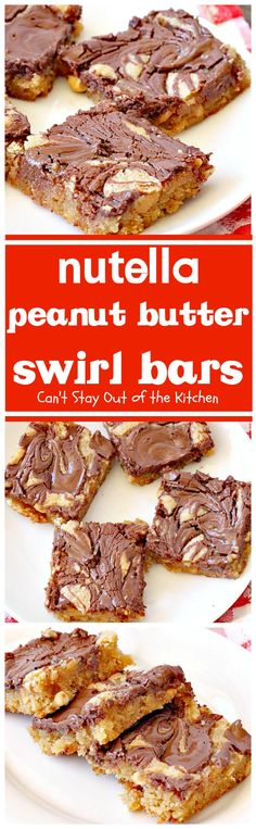 Nutella Peanut Butter Swirl Bars   Can't Stay Out of the Kitchen   these fantastic #brownies use a #peanutbutter #cookie dough with #Nutella swirled into the batter. This #dessert is heavenly! #tailgating