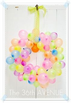 GREAT idea for birthday party decoration! Match the balloon colors to the party colors. Also good for any celebration! Can be used indoors or outdoors depending on the season/weather!
