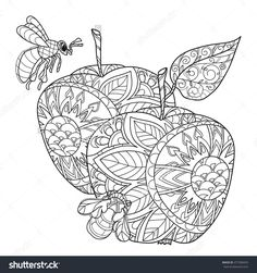 Honey Apple Doodle And BeesHand Drawn Vector Illustration Sketch For Tattoo Adult Coloring Anti Stress Book Zen Art Collection Boho Style