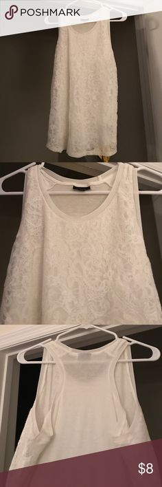 White lace tank top. White lace tank top. Great condition. Mossimo Supply Co Tops Tank Tops