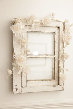 Maybe some elements of flowers and vintage/shabby chic to soften up the paneling? Shabby Cottage, Cottage Style, Lavender Room, Old Windows, Vintage Windows, Recycled Windows, Flower Garlands, Craft Flowers, Floral Garland