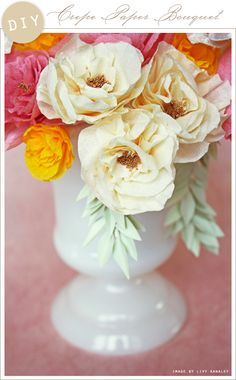 DIY: Crepe Paper Bouquet--more longevity than real flowers, but still pretty! Handmade Flowers, Diy Flowers, Fabric Flowers, Real Flowers, Flower Diy, Faux Flowers, White Flowers, Crepe Paper Roses, Tissue Paper Flowers