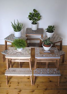 IKEA step stools and a lot of stencilling #stencil #IKEAHack #nicolettetabramstencils