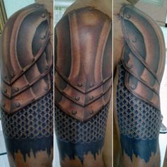 Top 90 Best Armor Tattoo Designs For Men - Walking Fortress Armor Sleeve Tattoo, Armor Of God Tattoo, Armour Tattoo, Shoulder Armor Tattoo, Shoulder Tats, Sleeve Tattoos, Shield Tattoo, Norse Tattoo, Schulterpanzer Tattoo