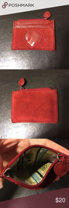 Brighton red suede ID zippered pouch Brighton red suede ID zippered pouch- great for holding your ID and cash! Brighton Bags Wallets