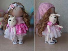 Textile doll Fabric doll Tilda doll Pink doll por AnnKirillartPlace