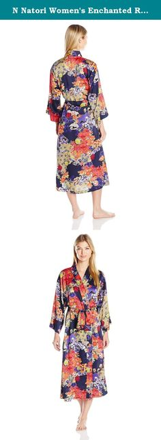 N Natori Women's Enchanted River Robe, Spectrum Blue, X-Small. Silky car me use printed long robe with pockets and self belt.