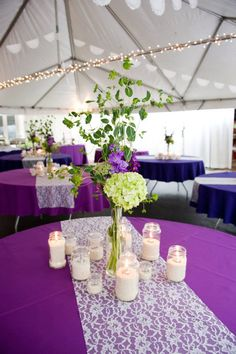 Love this purple!! And the arrangements are absolutely beautiful!