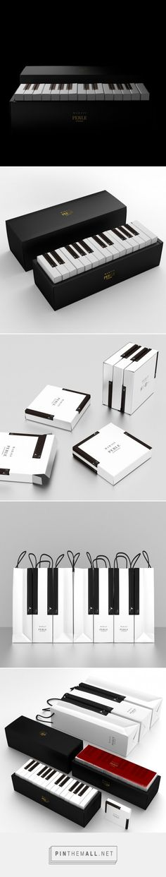 Musical Marais cakes by Latona Marketing with cool piano based packaging for Patisserie Perle curated by Packaging Diva PD. Just look at what you can do with black and white.