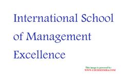 Ranking of mba colleges in india - Find the MBA admissions 2015-2016 and complete MBA details of International School of Management Excellence @ http://www.coursesmba.com/