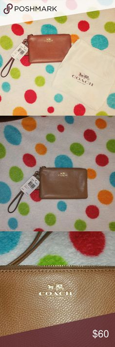 "NWT NEW Leather Coach Wristlet Interior-Two Credit Card Slots with  Plenty of room for the basic.   Zips for closure.   Measurements- 6 1/4"" Length                              4 3/8"" Height                              1/2"" depth                                6"" Strap Coach Bags Clutches & Wristlets"