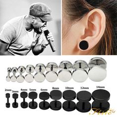 0 99 Gbp Men Women Round Earrings Barbell Punk Gothic Stainless Steel Stud Studs Black