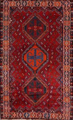 Excellent Quality Geometric Red 5x8 Lori Shiraz Persian Oriental Area Rug Carpet #Persian #TraditionalPersianOriental