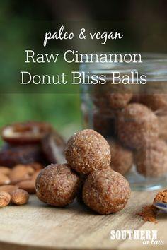 Raw Vegan Cinnamon Donut Bliss Balls Recipe - paleo raw balls, energy balls, protein balls, healthy, gluten free, grain free, sugar free