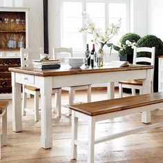 Wooden Dining Table with White Base