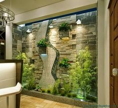 38 Spectacular Indoor Garden Design Ideas To Try Right Now - While it may not be difficult to have a vegetable garden in your own backyard, it's different when it's going to be inside of your house. An indoor ga. Interior Garden, Interior Exterior, Home Interior Design, Interior Architecture, Interior Decorating, Simple Living Room Decor, House Plants Decor, Outdoor Spaces, Garden Design