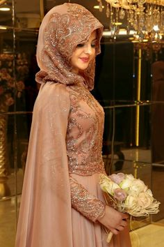 Muslim Wedding Dress With Niqab Bridal Hijab, Hijab Bride, Muslim Brides, Wedding Hijab, Muslim Dress, Pakistani Wedding Dresses, Bridal Dresses, Bridesmaid Dresses, Muslim Couples