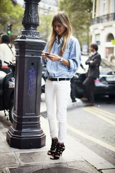 blue shirt and white jeans