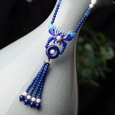 Handmade jewelry blue necklace ethnic maxi long chain women cloisonne pendants, agate and ceramic drop natural stone
