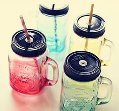Copo Jarra Mason Jar Ice Cold Drink Azul Degradê- Lojatip - Loja Tip - Dicas de presentes criativos   originais
