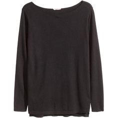 H&M+ Boat-neck jumper ($22) ❤ liked on Polyvore featuring tops, sweaters, black, plus size, plus size tops, black sweater, boatneck sweater, plus size sweaters and short sweater