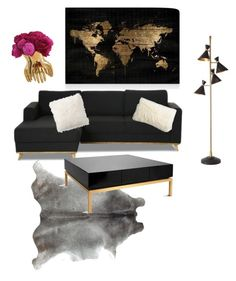 """""""Living room"""" by hairphilosophy on Polyvore featuring interior, interiors, interior design, home, home decor, interior decorating, Cost Plus World Market, Global Views, Oliver Gal Artist Co. and Arteriors"""