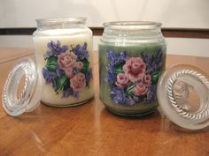 One stroke painted large scented candles